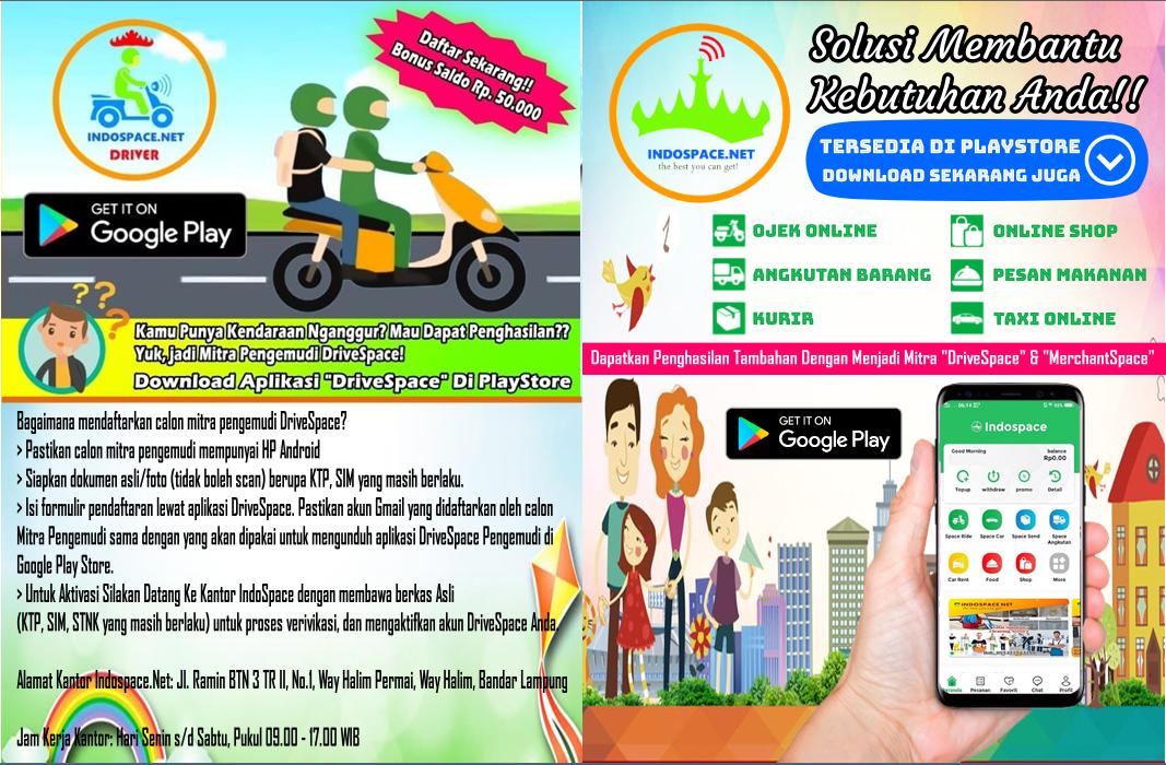 IndoSpace.Net Aplikasi Karya Putra Daerah Lampung - Ojek Online - Angkutan Barang - Pesan Makanan - Kurir - Taksi Online