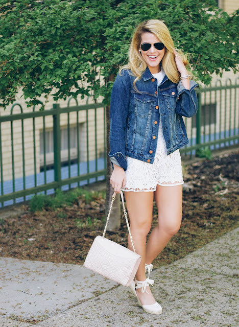 jean jacket with white lace romper and soludos wedges