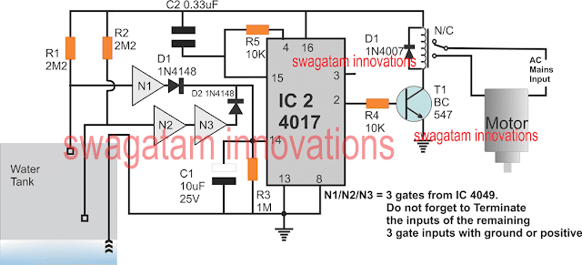 water overflow circuit with IC 4017