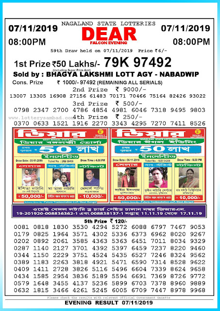 Lottery sambad 07-11-2019 Nagaland State Lottery Result 08.00 PM-sambadlottery.org