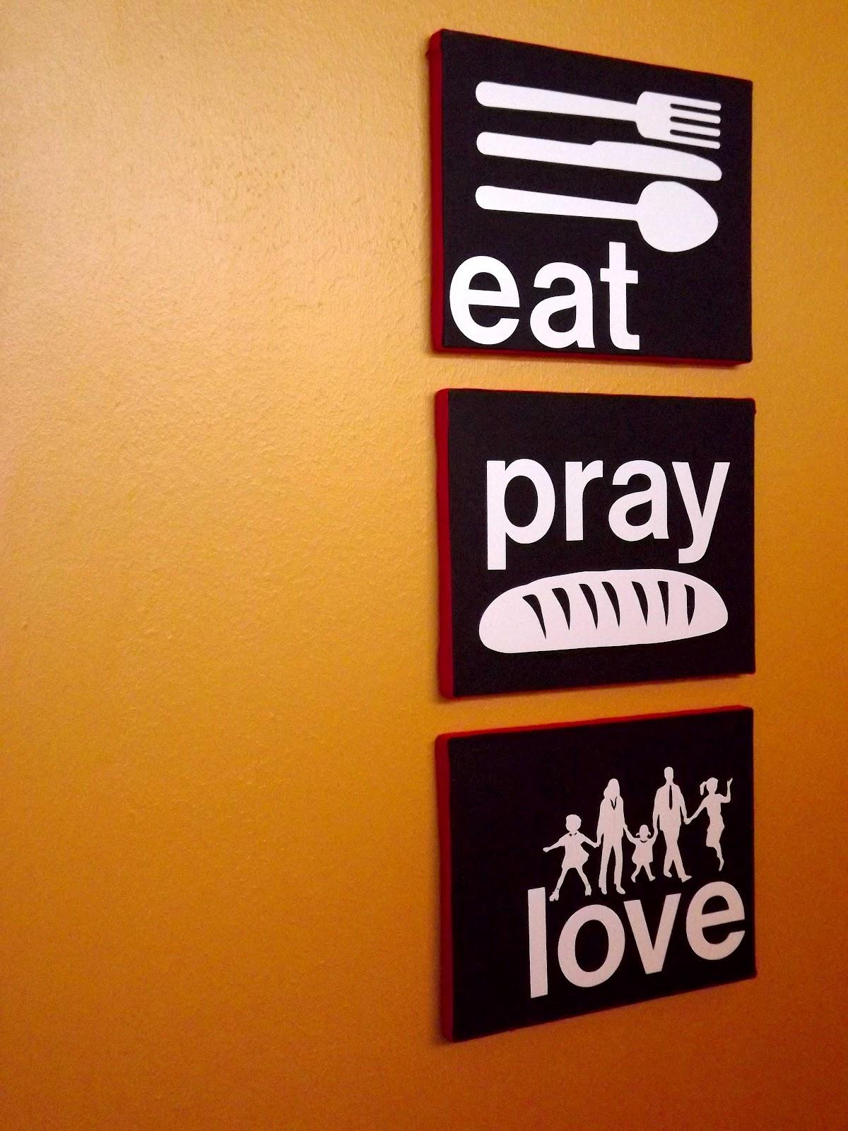 faith hope and art eat pray love custom dining room wall art. Black Bedroom Furniture Sets. Home Design Ideas