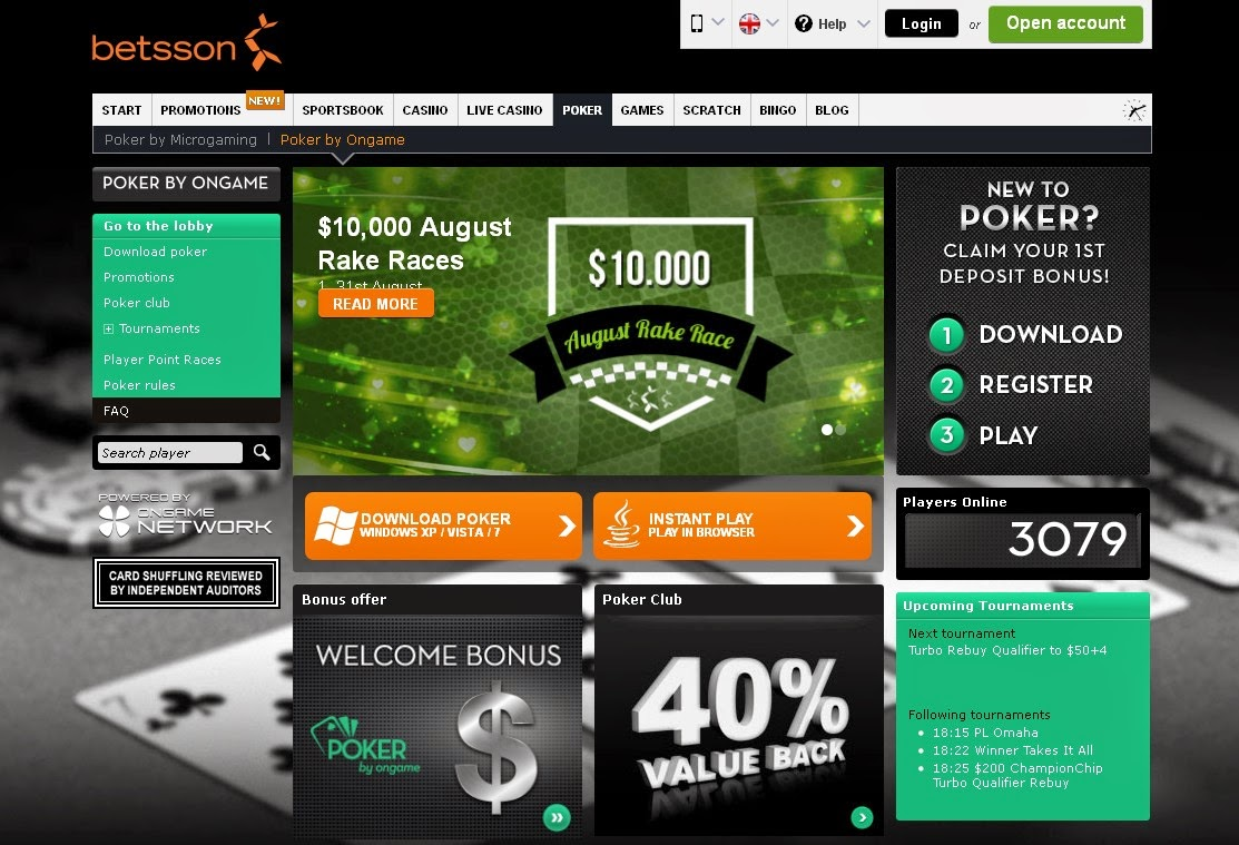 Betsson Ongame Poker Screen