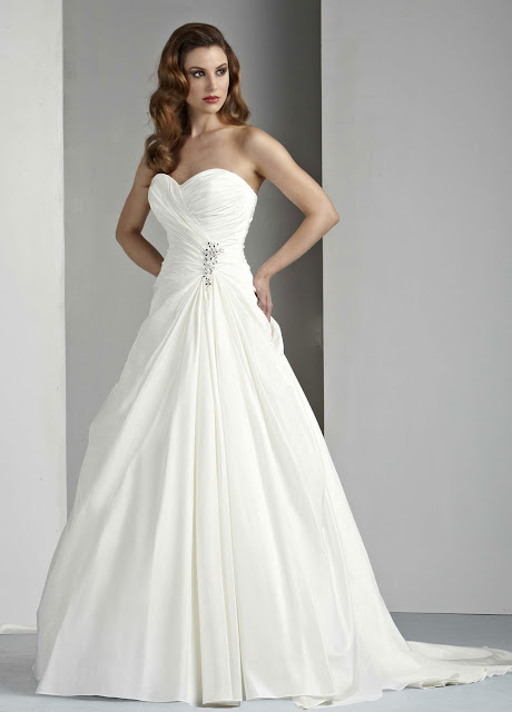 Simple Strapless Wedding Dresses With Bling
