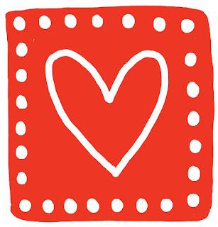 Rood vlak met wit getekend hart