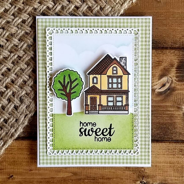 Sunny Studio Stamps: Happy Home Sweet Home Card by Kathleen Burke