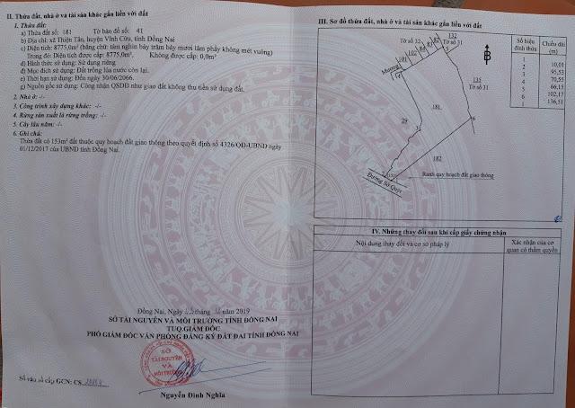 Bán đất sào Thiện Tân Vĩnh Cửu  8775 mv (CYNT)