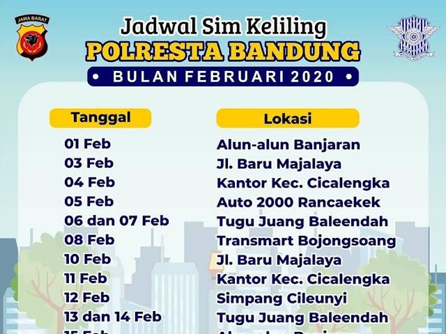 Jadwal Lengkap Layanan SIM Keliling Polres Bandung Bulan Februari 2020