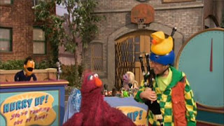 Hurry Up, You're Running Out of Time is a sesame street story. Guy Smiley, Denny the Distractor (Gilbert Gottfried) and Telly appear on the scene. Sesame Street Preschool is Cool ABCs With Elmo