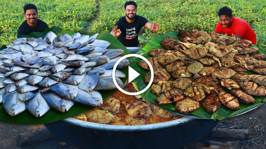Pomfret Fish Fry Recipe | Full Fish Fry By Grandpa Kitchen | Fish Cutting and Cleaning