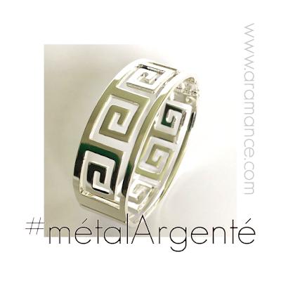 Bracelet manchette métal argenté