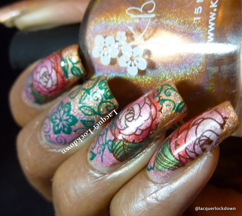 Lacquer Lockdown - KBShimmer, Jade Holigraficosl Jade Holograficos Delerio Rosa, KBShimmer Run It's the Coppers, holographic nail art, gradient nail art, indie nail polish, diy nail art, cute nail art ides, DRK Nails, DRK Designer Series XL1, DRK XL-1 plate, roses, floral nail art, nail art stamping nail art stamping blog, advanced stamping, decal method, cute nail art ideas, elegant nail art