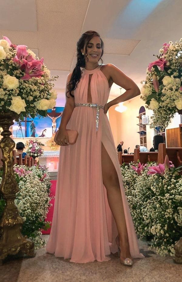 vestido de festa longo rose com cinto de strass