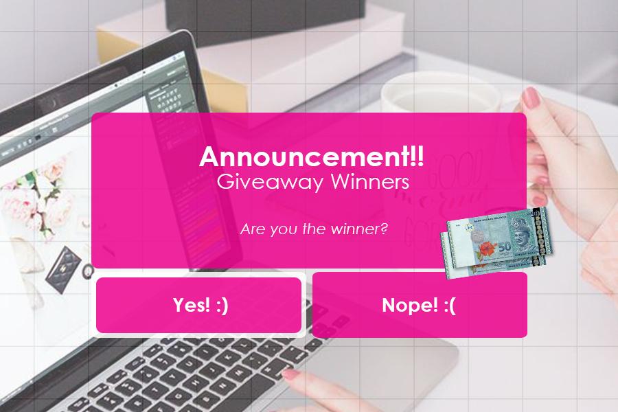 giveaway busyrakongsirezeki, itsme busyra, pemenang giveaway, giveaway cash RM100,