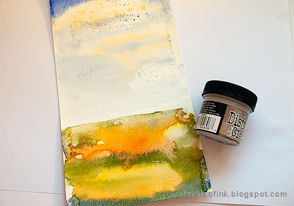 Layers of ink - Autumn Tree with Dimensional Flowers Tutorial by Anna-Karin Evaldsson, watercolor background