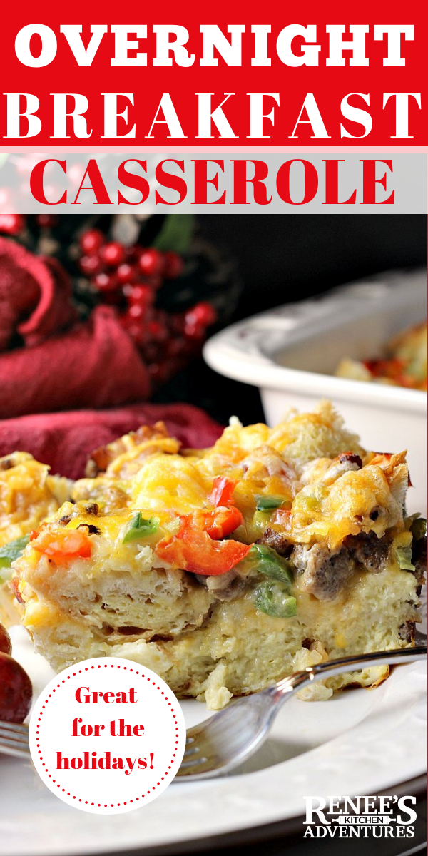 Make Ahead Christmas Morning Breakfast Casserole is an easy recipe for an overnight breakfast casserole made with eggs, sausage, peppers and cheese. #Christmasbreakfast #breakfast #casserole #eggcasserole #easyrecipe