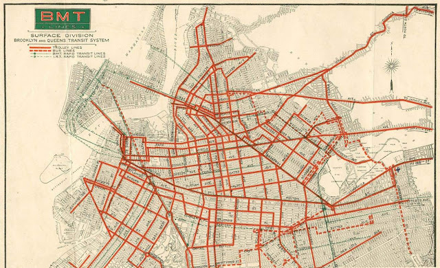 Old trolley route map for Brooklyn
