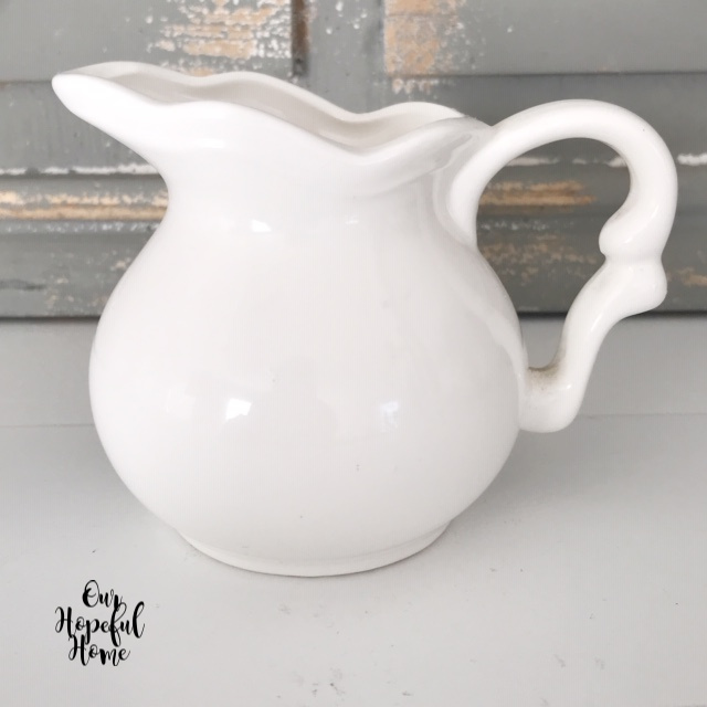 white ironstone creamer pitcher