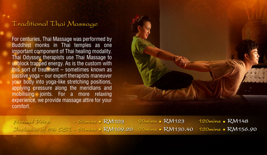 Thai Odyssey massage price list