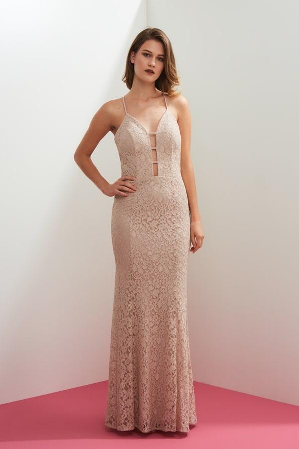 vestido longo nude rose rendado
