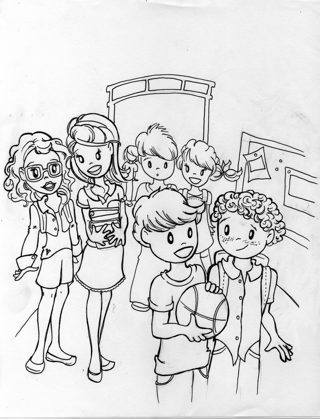 Everybody illustrated back to school for 5th grade coloring pages