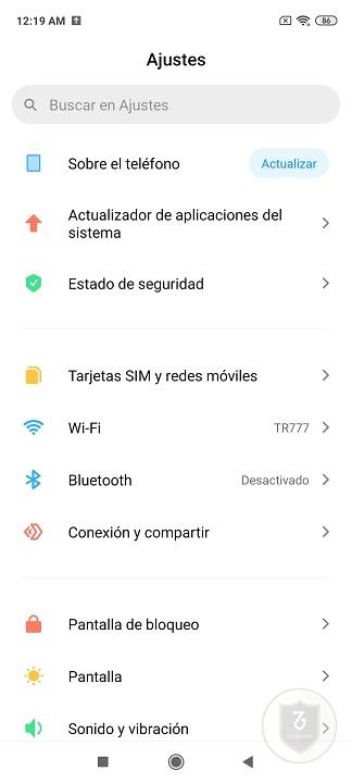 Captura interfaz del sistema operativo en el Redmi Note 9s