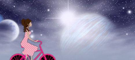 Unikuvana ajelemassa polkupyörällä avaruudessa.