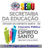 Apostila concurso Secretaria de Educação do ES vagas professor Sedu - ES.