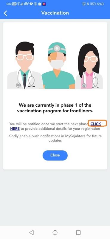 Daftar vaksin COVID-19 menerusi MySejahtera