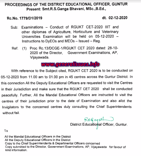 instructios for conducting IIT and other exams