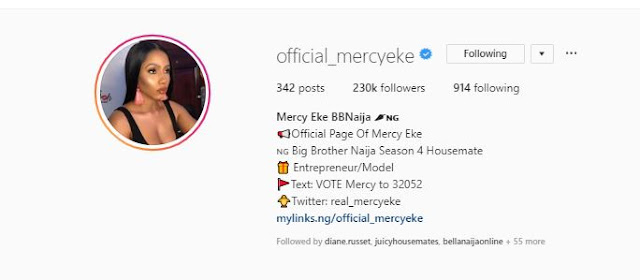 #BBNaija: Mercy Gets Verified On Instagram