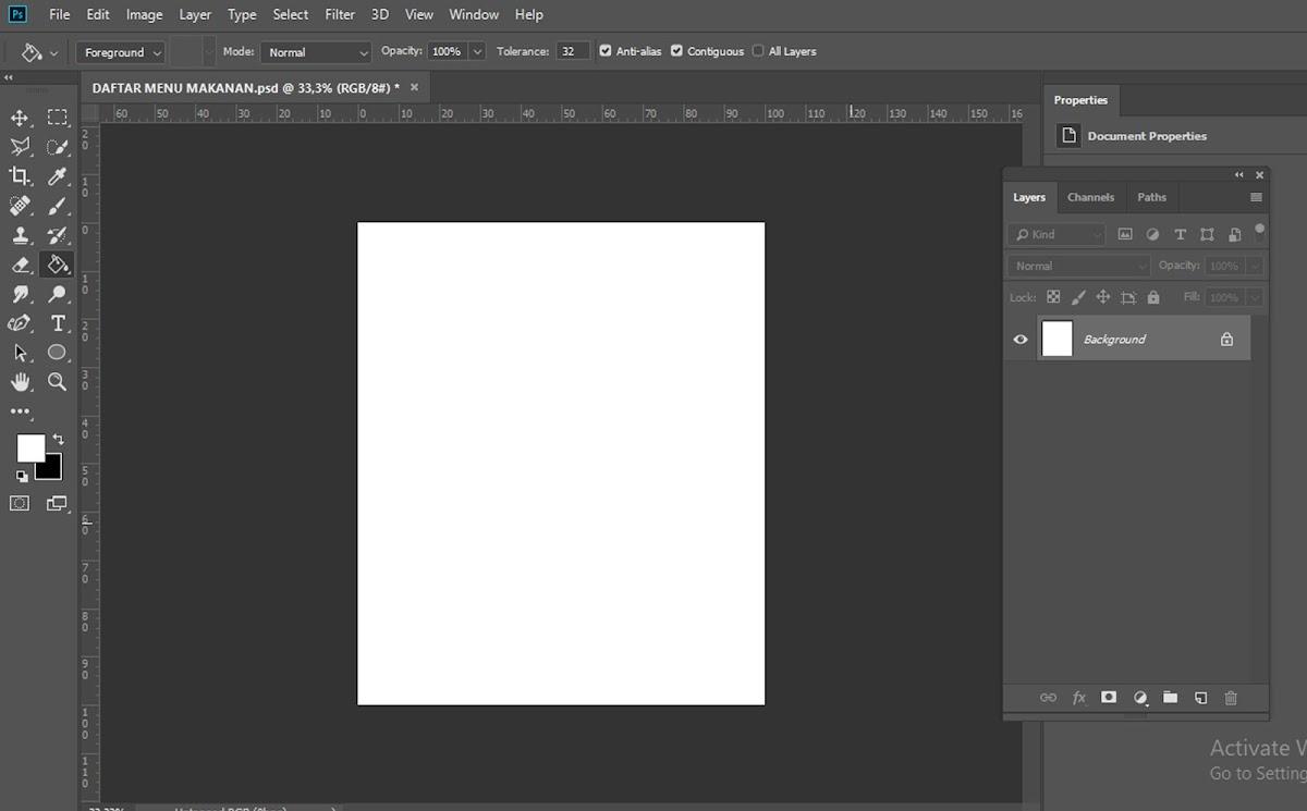 Buat Lembar kerja baru di Photoshop