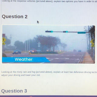 Looking at the misty rain and fog (pictured above), explain at least two defensive driving techniques you would utilize to adjust your driving and lower your risk.