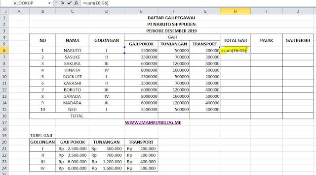 Cara Menghitung Gaji Bersih Karyawan Dengan Rumus Excel