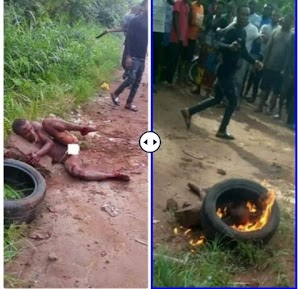 Angry Youths Burnt Suspected Thief To Death(Shocking Pics)