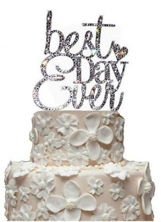 Best Day Ever Rhinestone Wedding Cake Topper