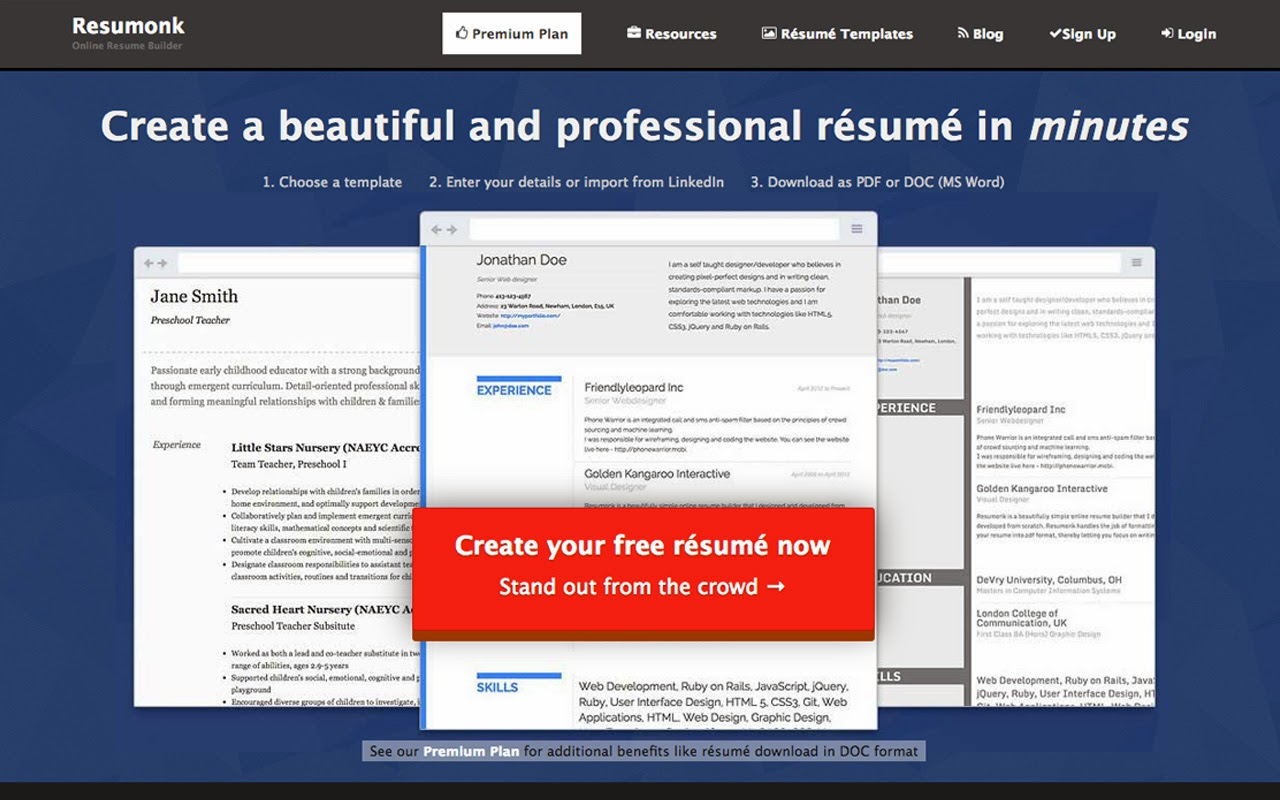 Chrome Download Resume Create A Beautiful Online Resume With Resumonk Resume Cv