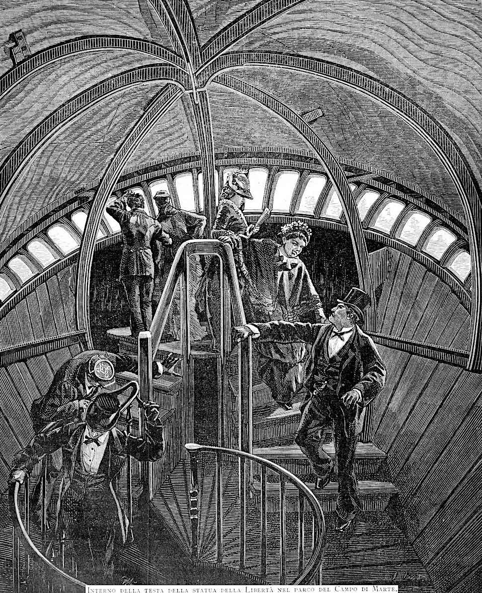 an illustration of inside the Statue of Liberty at the 1878 Paris World's Fair