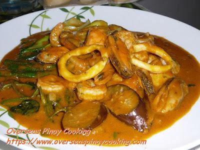 Marinara Seafood Mix Kare Kare Dish
