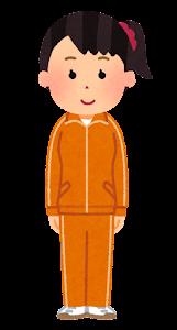 ジャージを着た女性のイラスト(オレンジ)