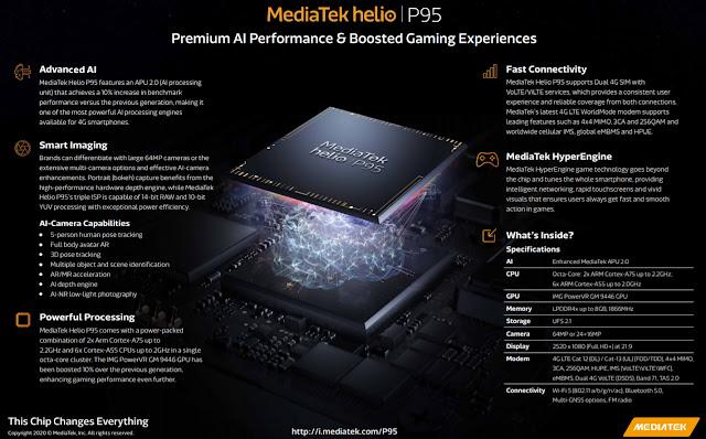 MediaTek Helio P95'i APU 2.0, PowerVR GPU ve daha fazlası ile duyurdu