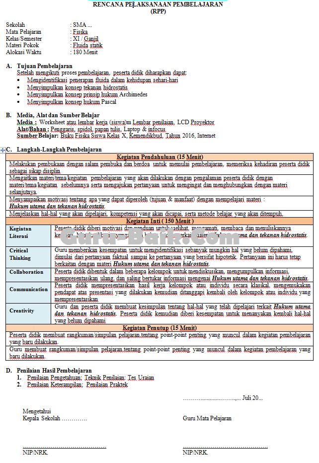 Gambar RPP Terbaru SMA 2021/2022 Mapel Fisika Format 1 Lembar