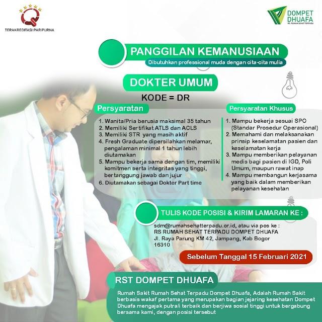 Loker Dokter RS Rumah Sehat Terpadu Dompet Dhuafa Bogor