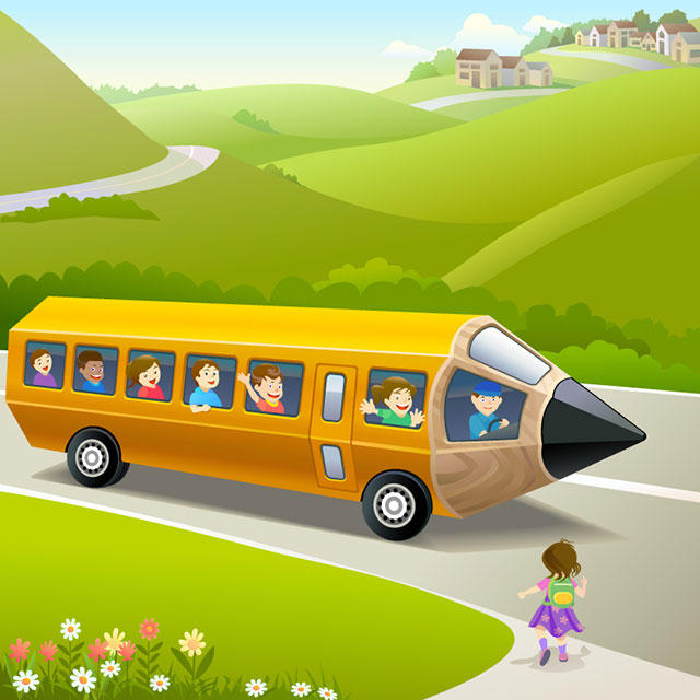 cartoon_pencil_school_bus_vector