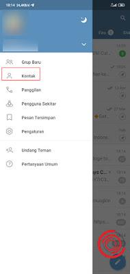 Silakan kalian buka aplikasi Telegram lalu pilih menu Kontak