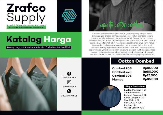 Katalog harga pembuatan kaos, kemeja, dan apparel lainnya di Zrafco Supply
