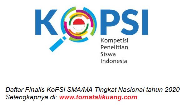 daftar nama peserta finalis kopsi sma ma tingkat nasional tahun 2020 tomatalikuang.com