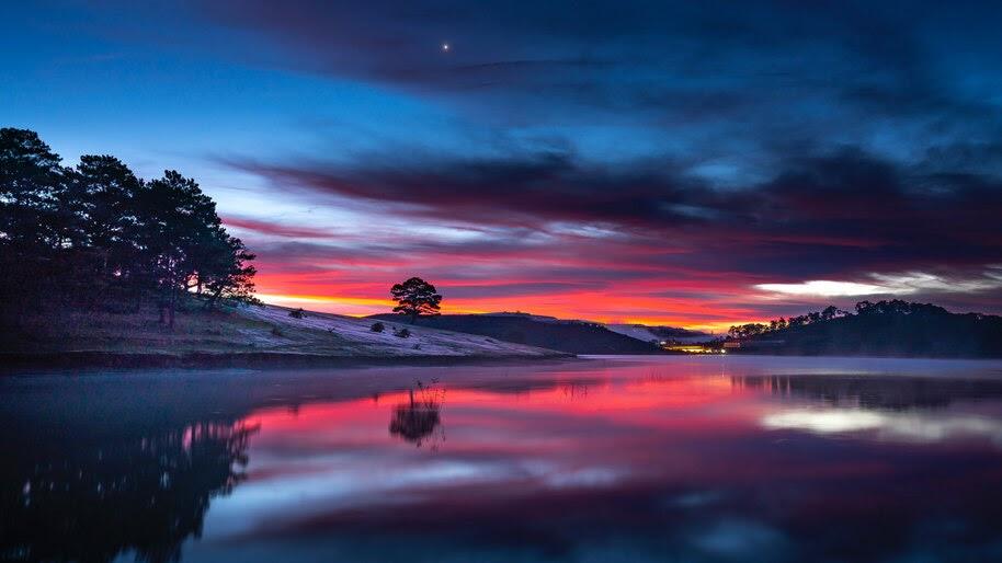 Sunset, Lake, Reflection, Scenery, 8K, #6.910