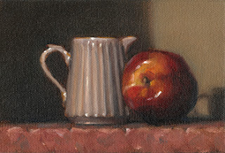 Still life oil painting of a small white fluted porcelain jug beside a nectarine.