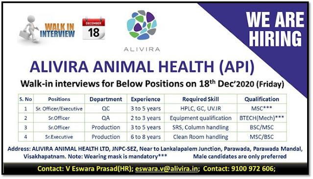Alivira Animal Health Pvt Ltd WalkIn Interviews for QC QA Production Departments on 18th Dec 2020