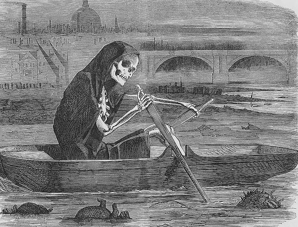 """""The Silent Highwayman, Your Money or Your Life"" Cartoon as commentary on the health of the River Thames and the threat that its water posed to the people of London. Punch magazine, July, 1858"""